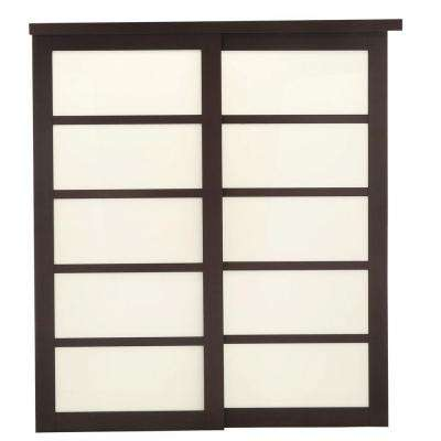 2240 Series Espresso 5-Lite Composite Grand Sliding Door