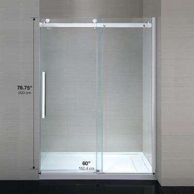 Sierra 60 in. x 79 in. Frameless Sliding Shower Door in Chrome