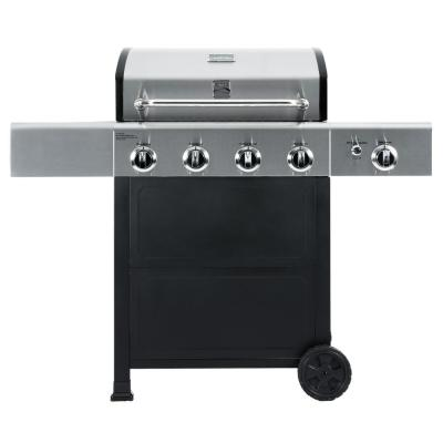 4 Burner Propane Gas Grill in Black and Stainless Steel with Side Burner