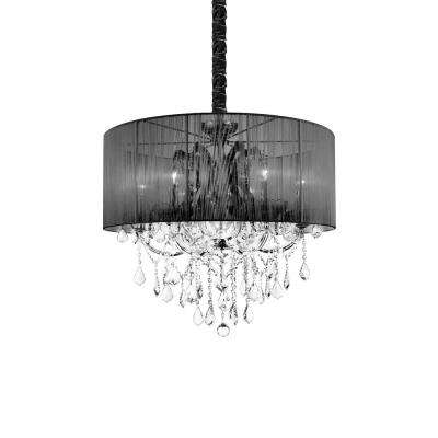 Maria Theresa 6-Light Chrome Chandelier with Black shade