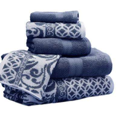 Trefoil Filigree 6-Piece Cotton Bath Towel Set in Indigo