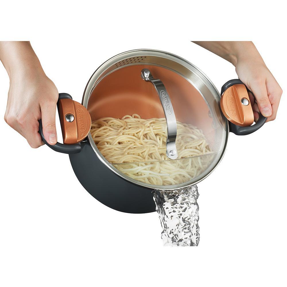 5 Qt. Non-Stick Ti-Ceramic Pasta Pot with Built-In Strainer and Twist N' Lock Handles
