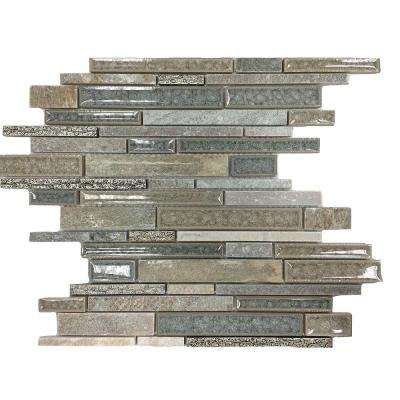 Olive Branch Green Quartz Glass and Stone Mosaic Tile - 3 in. x 6 in. Tile Sample