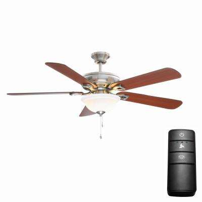 Rothley 52 in. LED Brushed Nickel Ceiling Fan with Light Kit and Remote Control