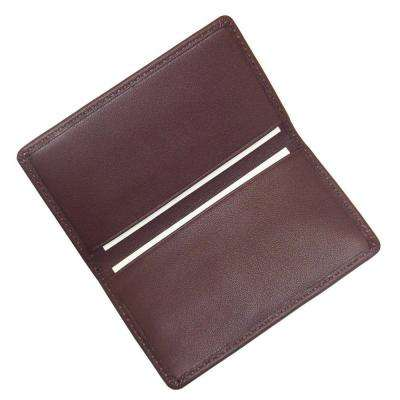 Burgundy Business Card Case in Genuine Leather