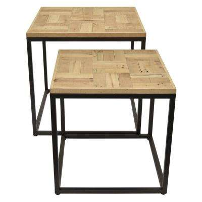 23 in. Black Metal/Wood Table (Set of 2)