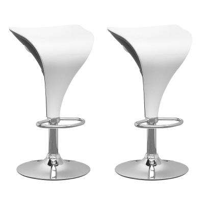 Adjustable Two Toned Swivel Bar Stool in White and Black (Set of 2)
