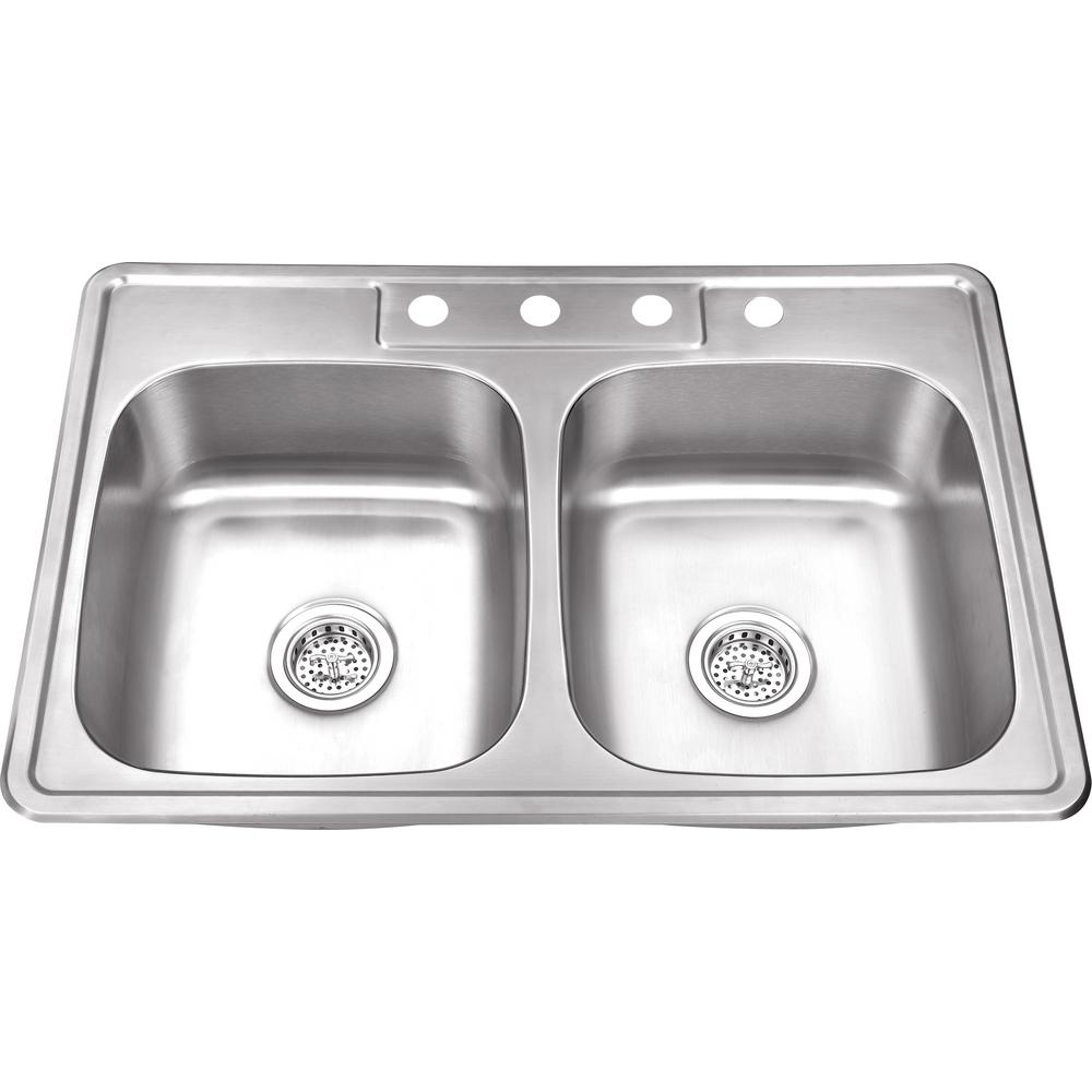Drop-In 20-Gauge Stainless Steel 33 in. 4-Hole 50/50 Double Bowl Kitchen