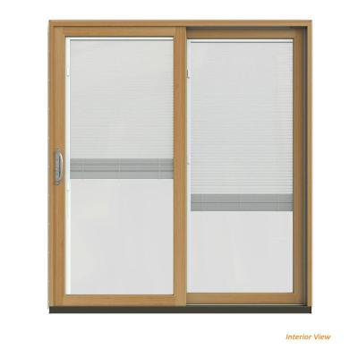 72 in. x 80 in. W-2500 Contemporary Bronze Clad Wood Right-Hand Full Lite Sliding Patio Door w/Stained Interior