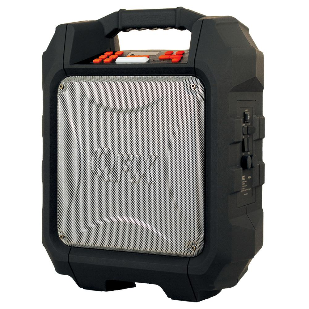 qfx bluetooth portable rugged sound box black pbx7 the home depot. Black Bedroom Furniture Sets. Home Design Ideas