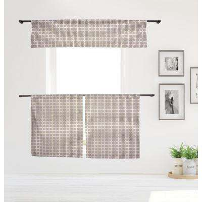 Angelica Kitchen Valance in Tiers/Mocha - 15 in. W x 58 in. L (3-Piece)