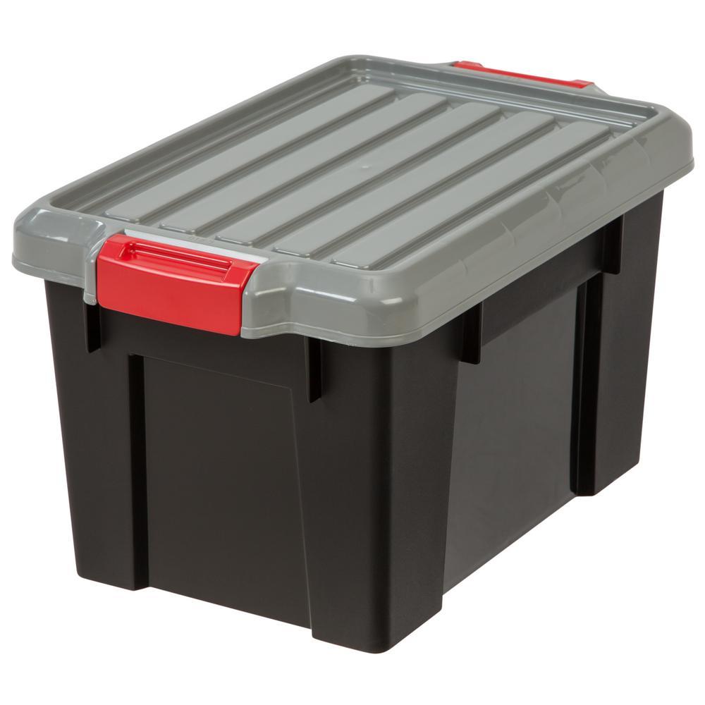 IRIS 20 Qt. Heavy Duty Storage Tote in Black (4-Pack)  sc 1 st  The Home Depot & IRIS 20 Qt. Heavy Duty Storage Tote in Black (4-Pack)-585516 - The ...