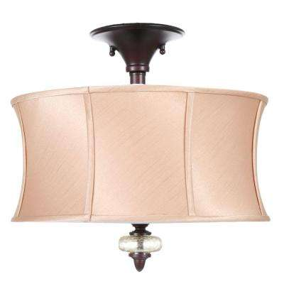 Chambord Collection 3-Light Weathered Copper Ceiling Semi-Flush Mount Light Fixture