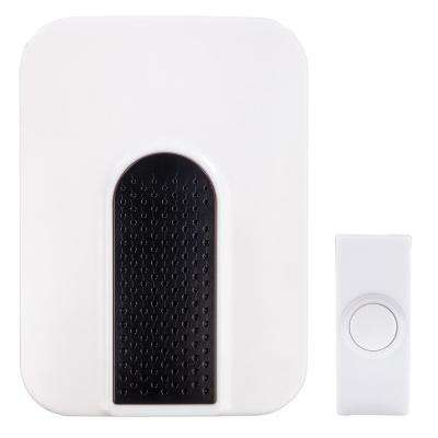 Wireless Battery Operated Doorbell Kit with 1-Push Button in White