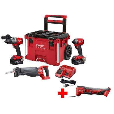 M18 FUEL 18-Volt Lithium-Ion Brushless Cordless Combo Kit (3-Tool) with Free M18 Multi-Tool and PACKOUT Rolling Tool Box