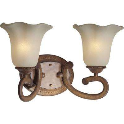 2-Light Rustic Sienna Bath Vanity Light with Shaded Umber Glass