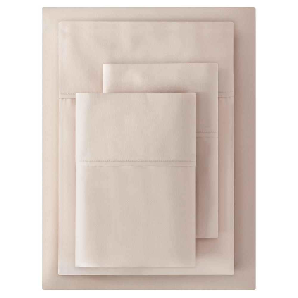 300 Thread Count Wrinkle Resistant American Cotton Sateen 4-Piece King Sheet Set in Ballet Beige