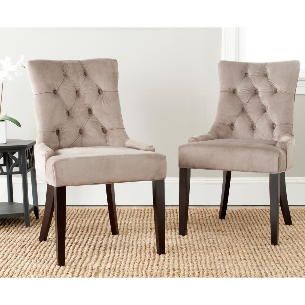 SAFAVIEH Safavieh Abby Mushroom Taupe/Espresso Cotton Side Chair (Set of 2)