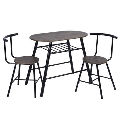 3- Piece Brown MDF Oval Compact Breakfast Set Dining Table Set with 2 Side Chairs