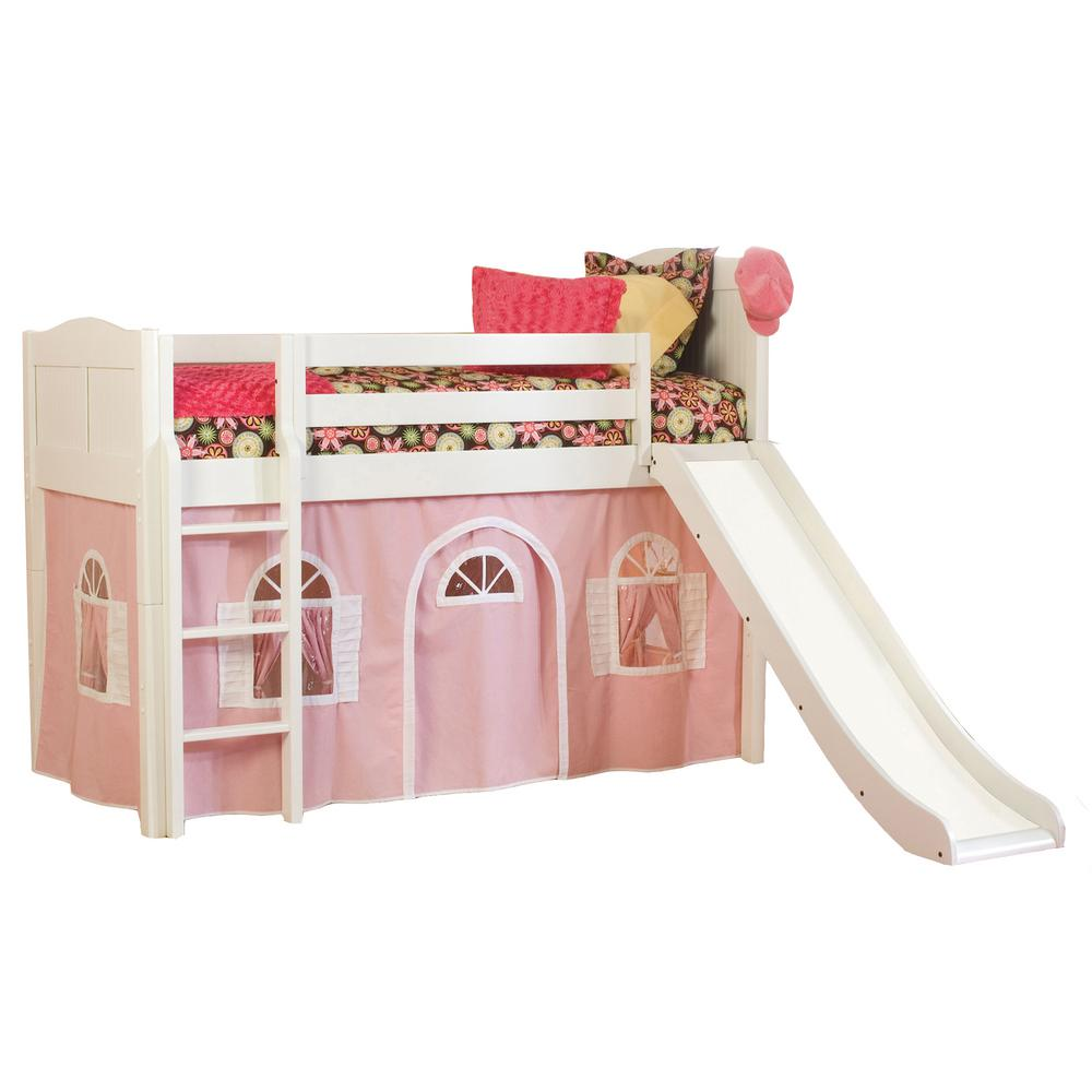 various colors 5b7f4 d7d86 Cottage White Twin Low Loft Bed with Pink and White Bottom Curtain and Slide