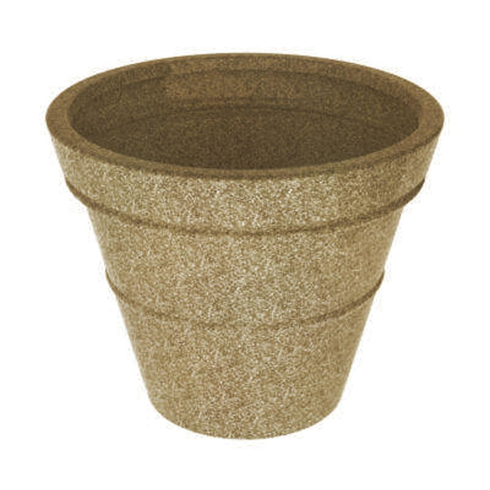 Terracast 28 in. Round Sandstone Granite Resin Planter with Saucer