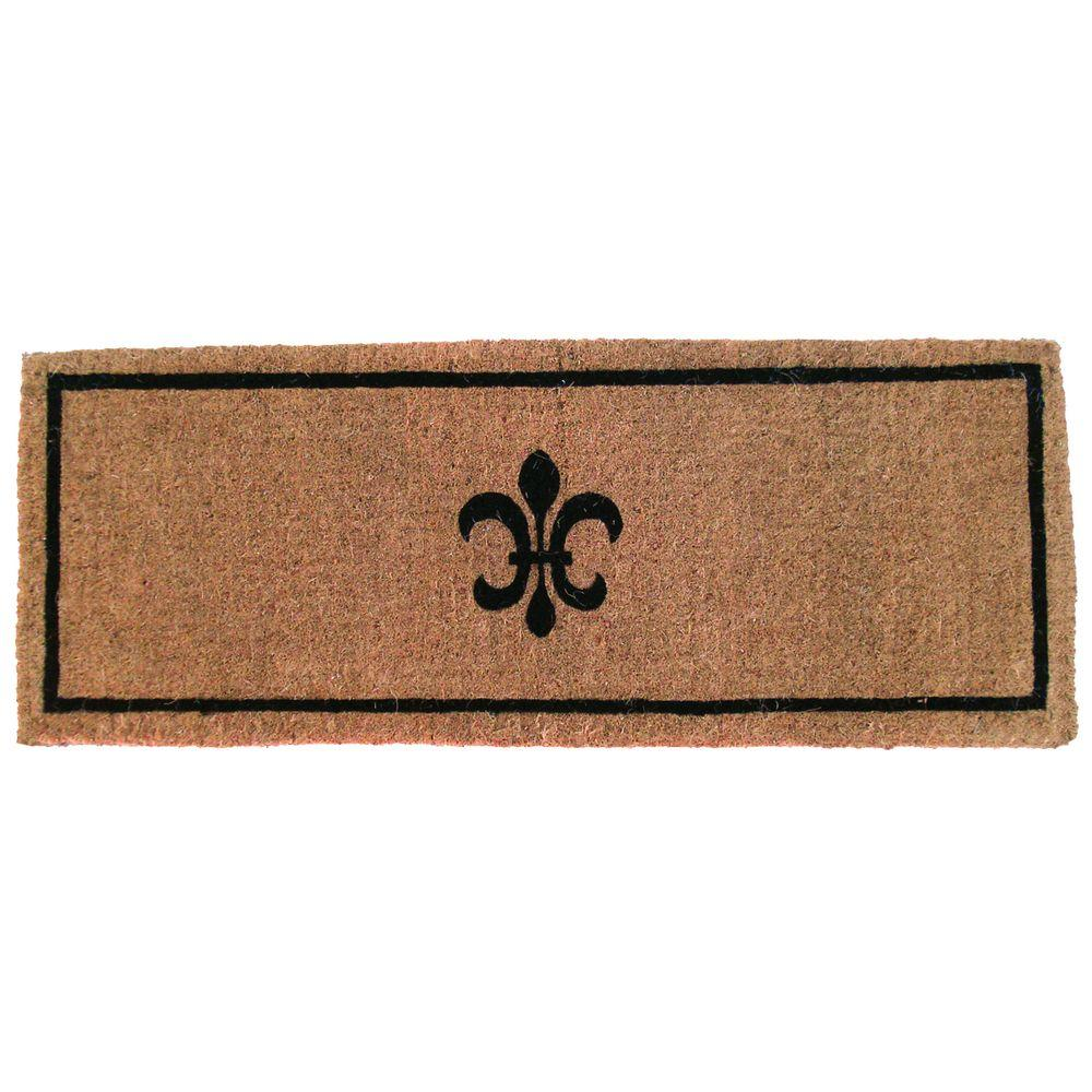 Bathroom Rugs 36 X 72: Entryways Black Fleur De Lys 36 In. X 72 In. Extra Thick