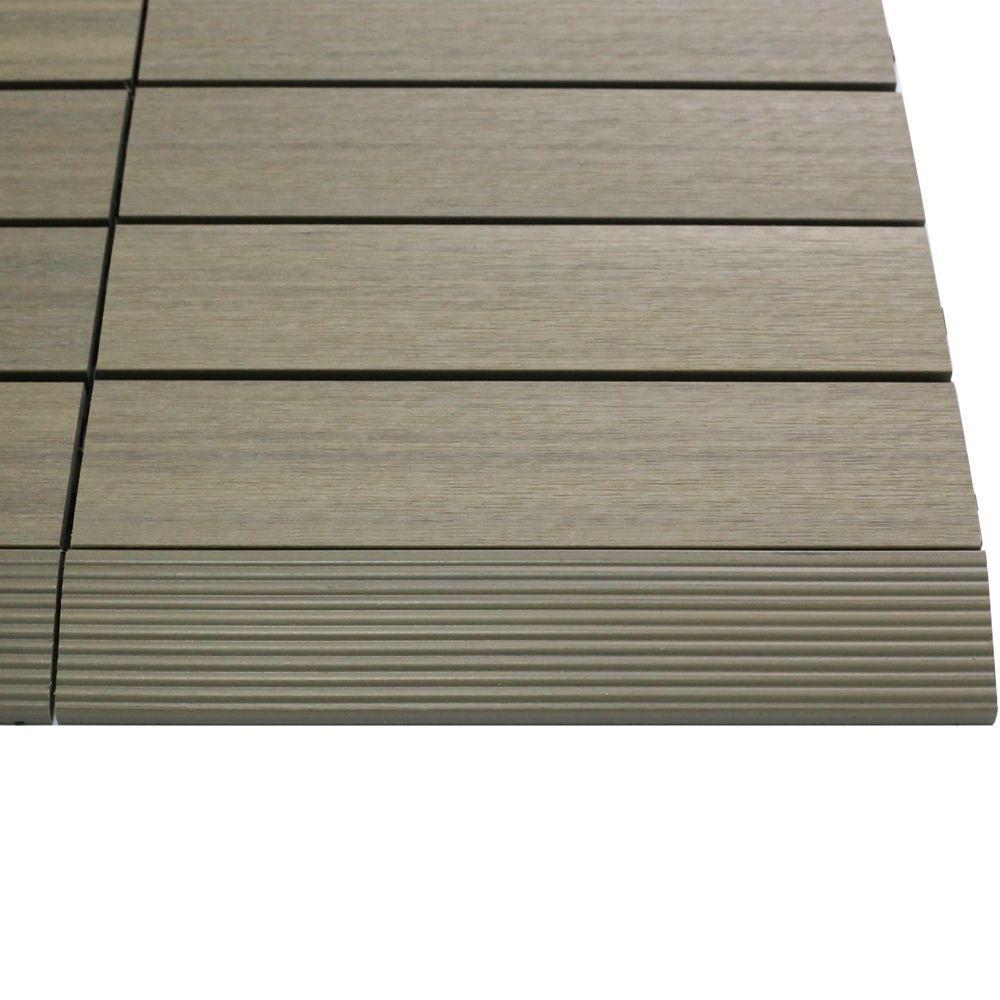 1/6 ft. x 1 ft. Quick Deck Composite Deck Tile Straight Trim in Roman Antique (4-Pieces/Box)