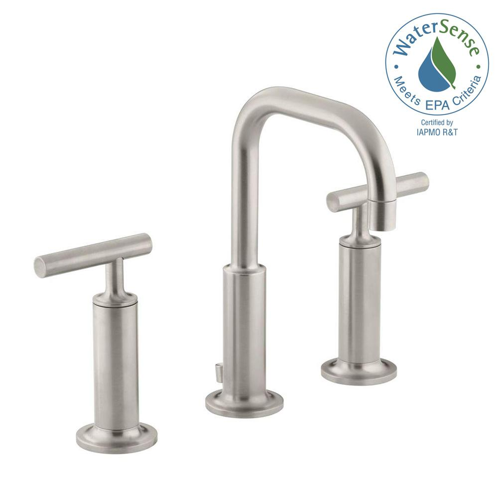 KOHLER Purist In Widespread Handle LowArc Bathroom Faucet In - Kohler purist bathroom sink