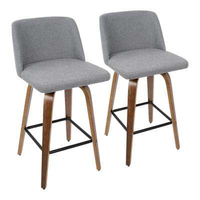 Toriano 26 in. Walnut and Grey Fabric Counter Stool with Black Square Footrest (Set of 2)