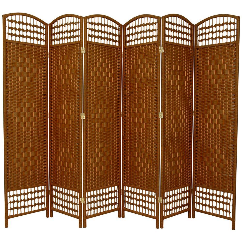 6 ft. Dark Beige 6-Panel Room Divider