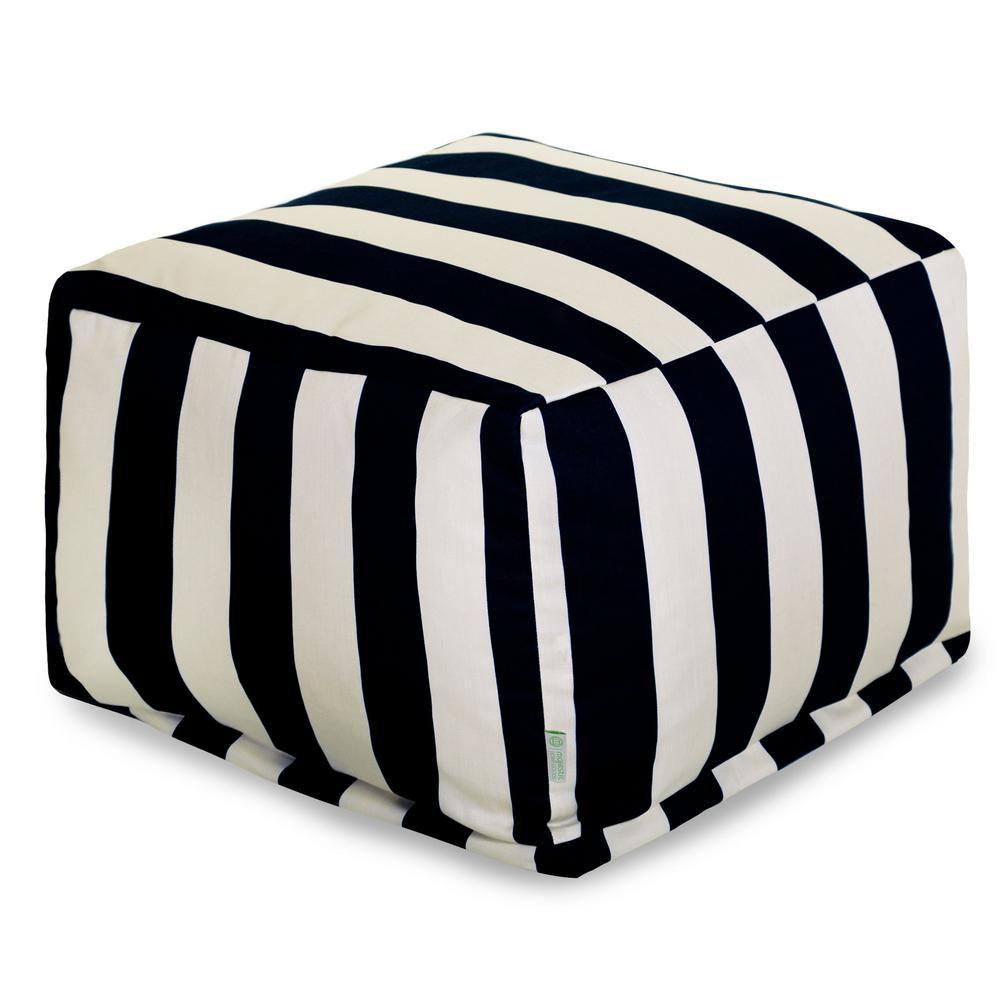 Black Vertical Stripe Indoor/Outdoor Ottoman Cushion