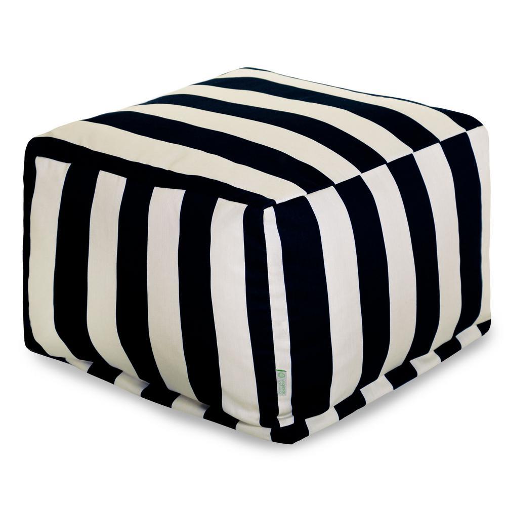Black Vertical Stripe Indoor/Outdoor Ottoman Cushion
