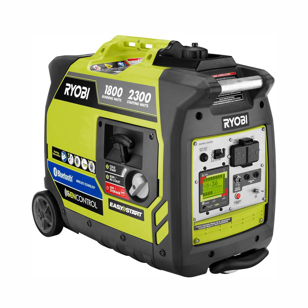 RYOBI RYOBI Bluetooth 2,300 Starting Watt Super Quiet Gasoline Powered Digital Inverter Generator