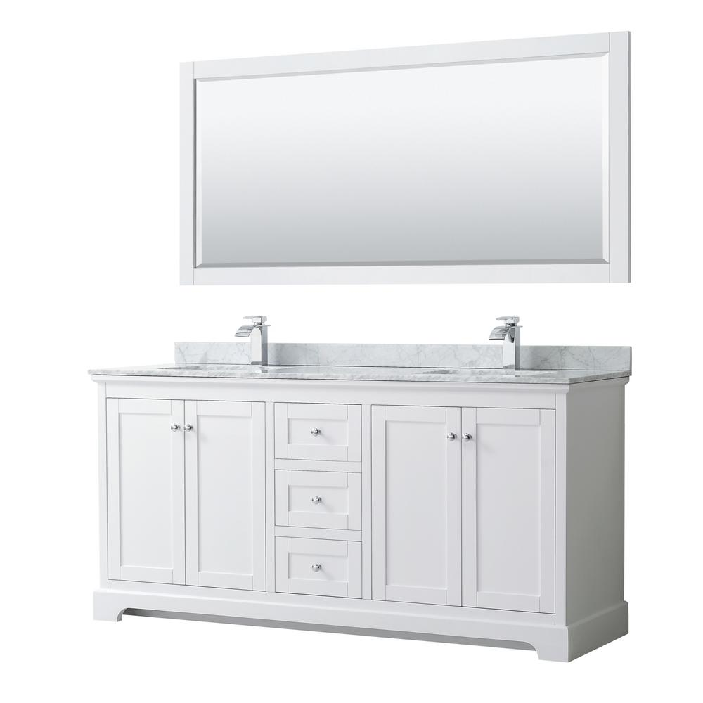 Wyndham Collection Avery 72 in. W x 22 in. D Bath Vanity in White with Marble Vanity Top in White Carrara with White Basins and Mirror