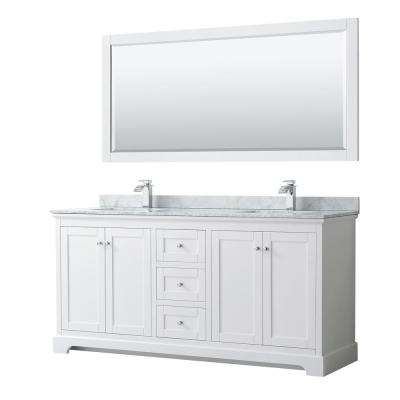 Avery 72 in. W x 22 in. D Bath Vanity in White with Marble Vanity Top in White Carrara with White Basins and Mirror