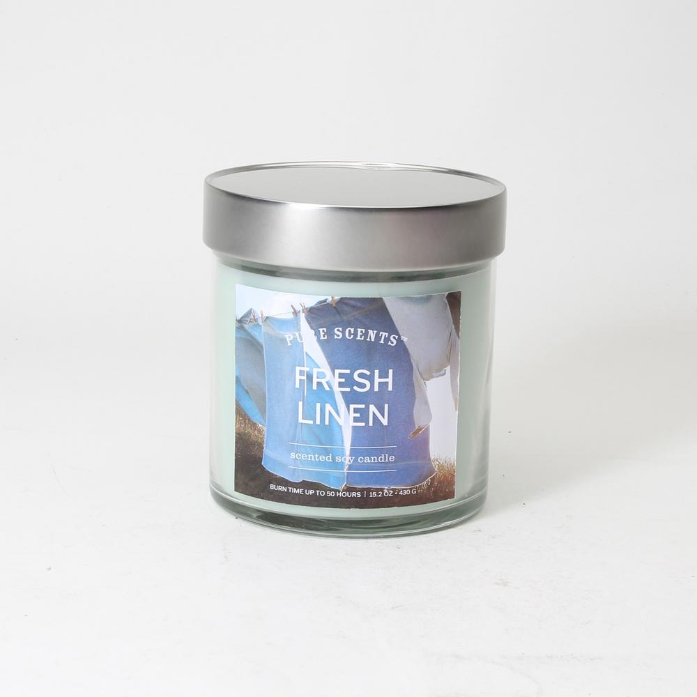 Pure Scents 15 2 Oz Fresh Linen Candle