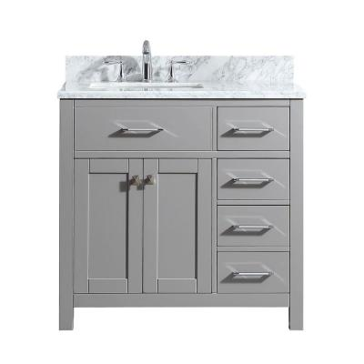Virtu USA Caroline Parkway 36 in. W Bath Vanity in Cashmere Gray with Marble Vanity Top in White with Square Basin
