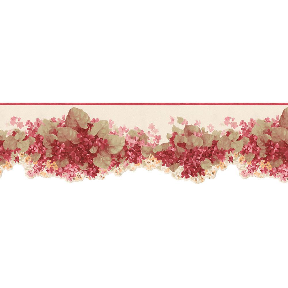 Norwall Hortensia Wallpaper Border, Red/Green/Ivory