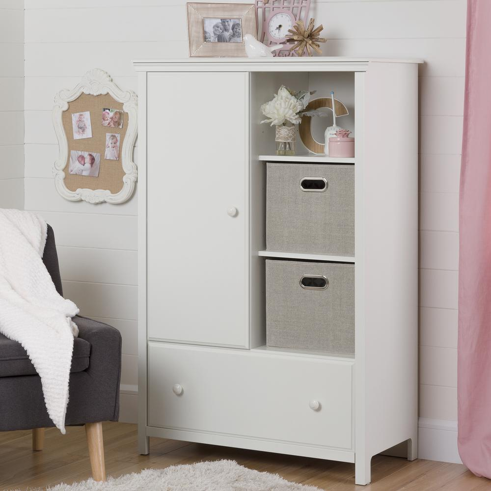 South Shore Cotton Candy Pure White Armoire