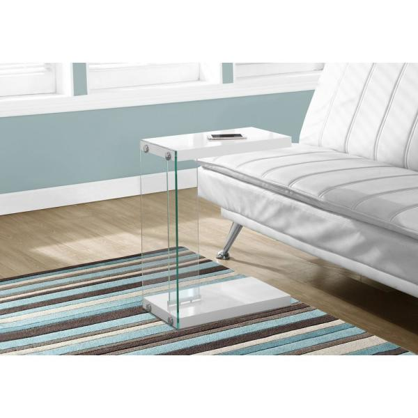 White End Table with Tempered Glass