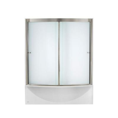 Ovation 60 in. Standard Fit Bathtub Kit with Left-Hand Drain and Sliding Tub/Shower Door in Satin Nickel