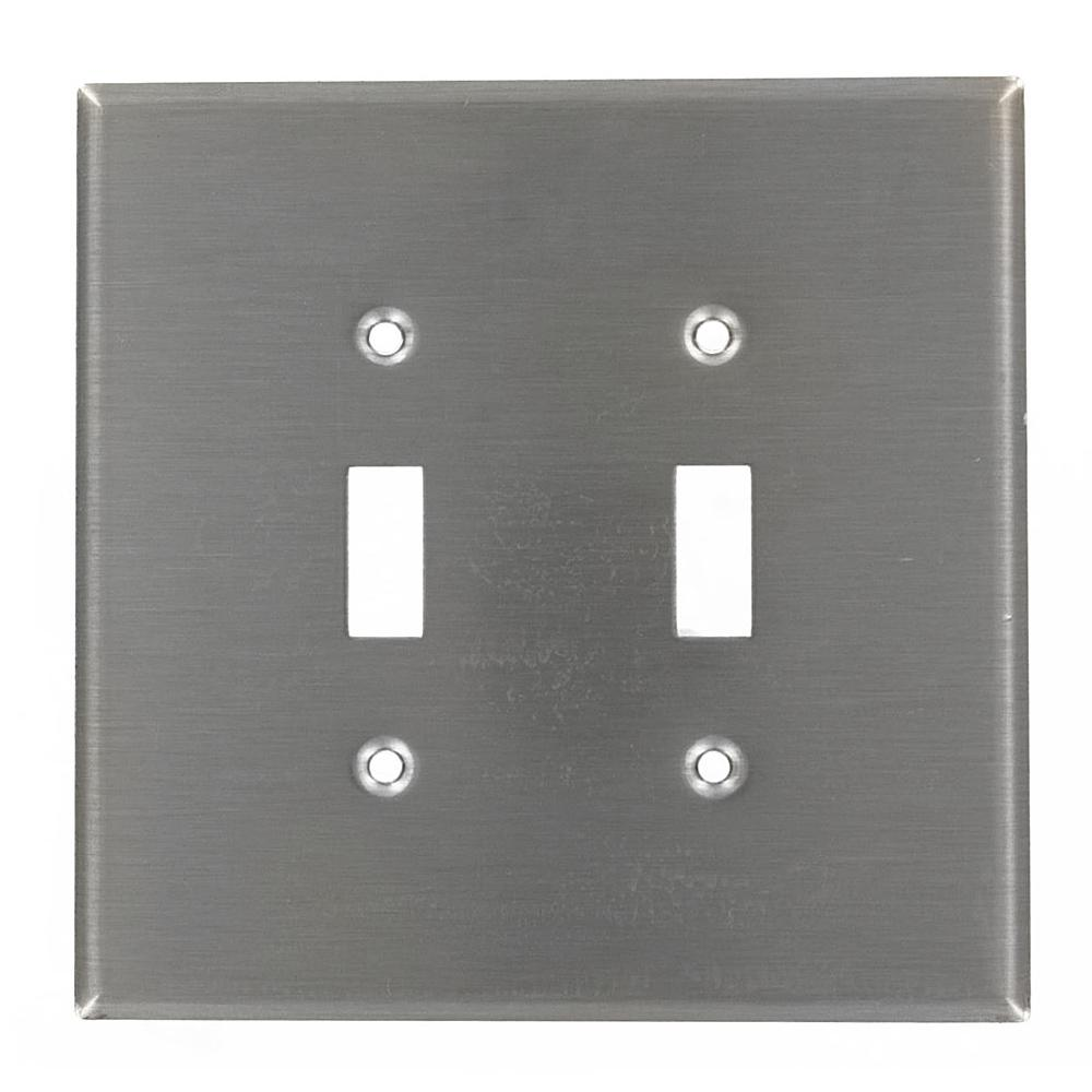 2-Gang 2-Toggle Oversized Stainless Steel Wall Plate, Stainless Steel
