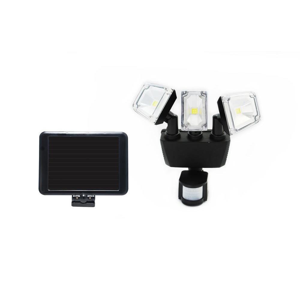 Nature Power 180 Degree Black Solar Motion Sensing Triple Lamp Security Light with Advance LED Technology