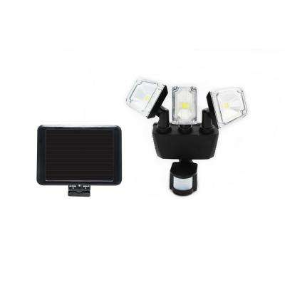 180 Degree Black Solar Motion Sensing Triple Lamp Security Light with Advance LED Technology