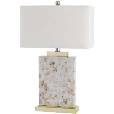 Tory 25 in. Shell Table Lamp with White Shade