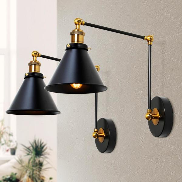 Lnc 1 Light Modern Black And Gold Wall Lamp Adjustable Plug In Industrial Wall Sconce With Swing Arms 2 Pack A03469 The Home Depot