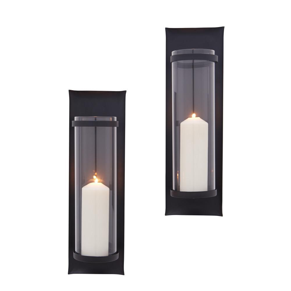 DANYA B Algarve 16 in. Black Pillar Candle Sconces (Set of