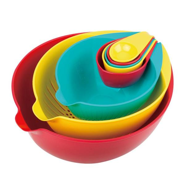 MasterPan 10 in. 8-Piece Multi-Colored Nested Mixing and Measuring Bowl MP-123