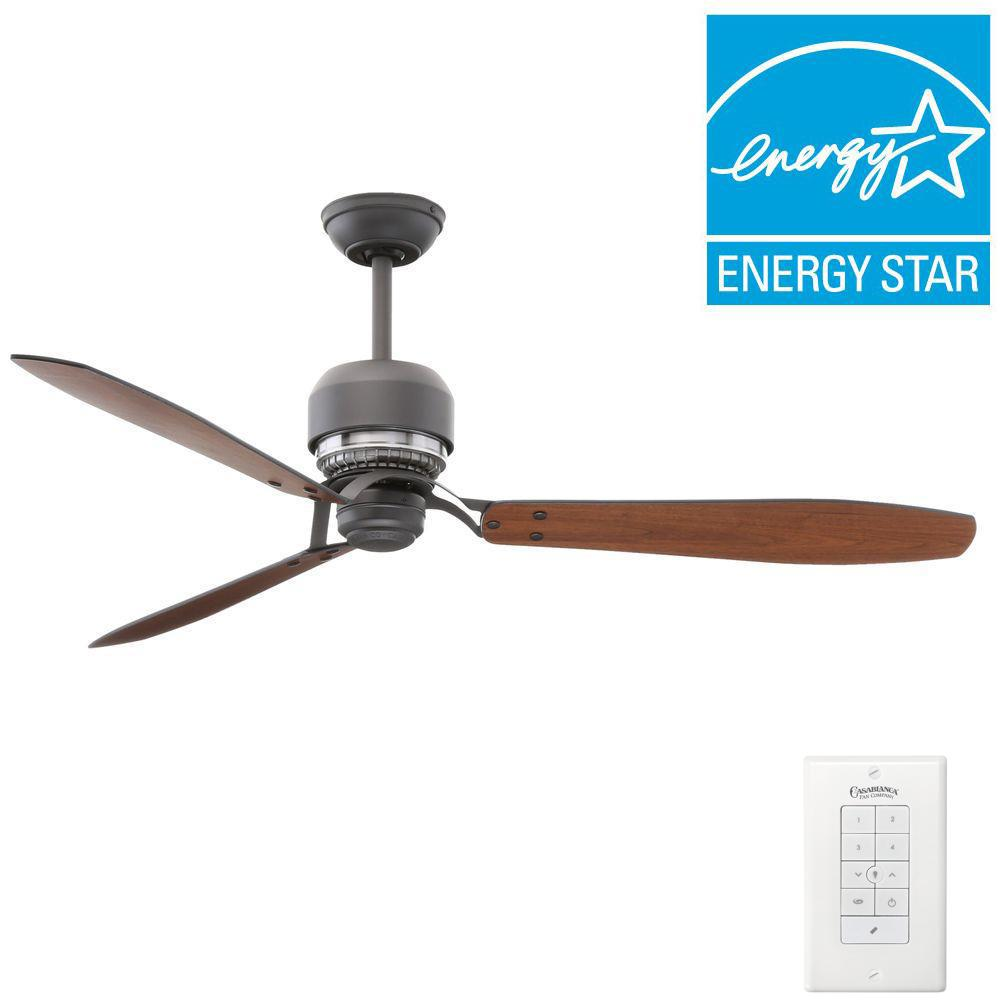 Casablanca Tribeca 60 in. Indoor Graphite Ceiling Fan with 4-Speed Wall Mount Control