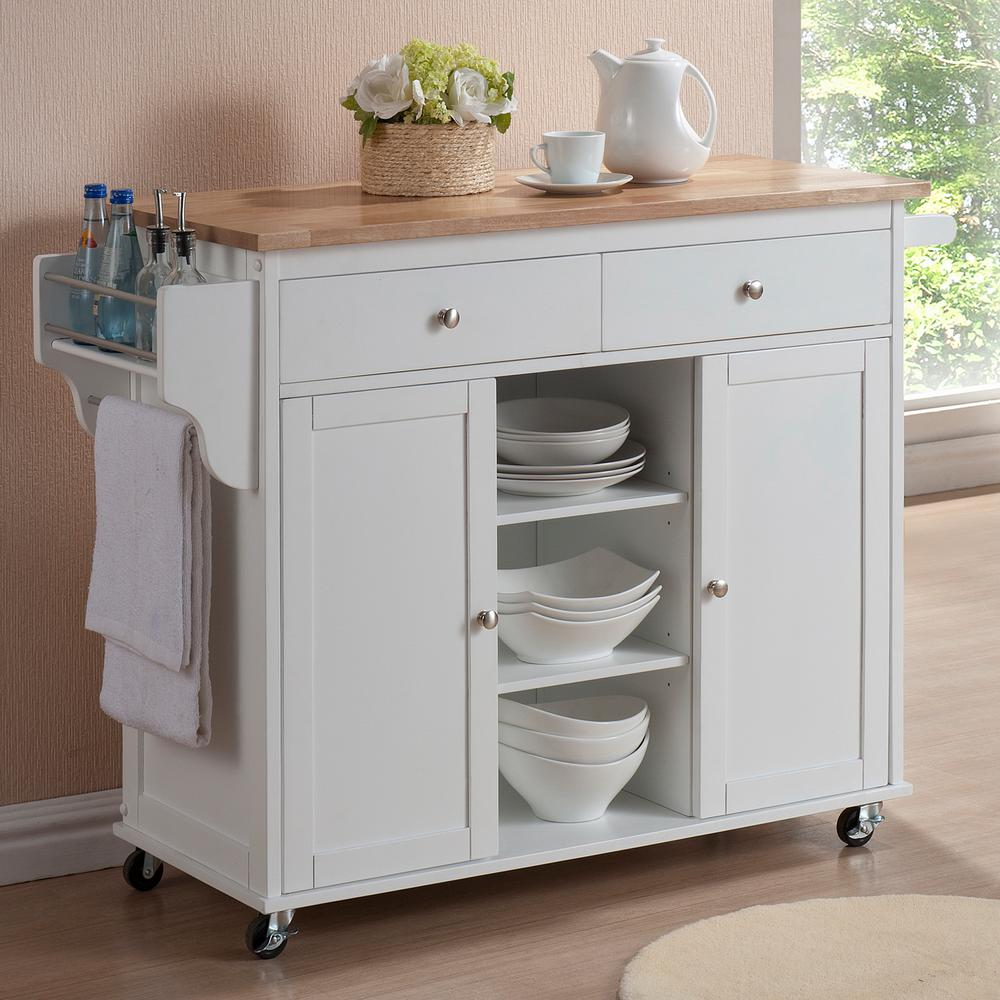 Baxton Studio Meryland White Kitchen Cart with Storage-28862-5408 ...